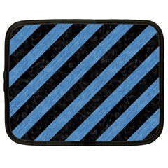 Stripes3 Black Marble & Blue Colored Pencil Netbook Case (xl) by trendistuff