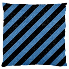 Stripes3 Black Marble & Blue Colored Pencil Large Cushion Case (one Side) by trendistuff