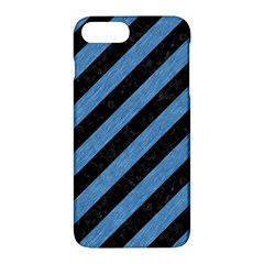 Stripes3 Black Marble & Blue Colored Pencil Apple Iphone 7 Plus Hardshell Case by trendistuff
