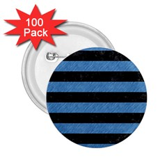 Stripes2 Black Marble & Blue Colored Pencil 2 25  Button (100 Pack) by trendistuff