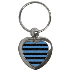 Stripes2 Black Marble & Blue Colored Pencil Key Chain (heart) by trendistuff