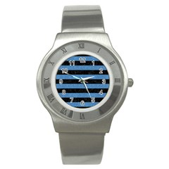 Stripes2 Black Marble & Blue Colored Pencil Stainless Steel Watch by trendistuff