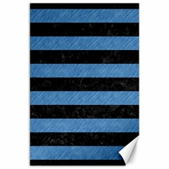 Stripes2 Black Marble & Blue Colored Pencil Canvas 24  X 36  by trendistuff