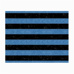 Stripes2 Black Marble & Blue Colored Pencil Small Glasses Cloth (2 Sides) by trendistuff