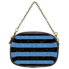 Stripes2 Black Marble & Blue Colored Pencil Chain Purse (two Sides) by trendistuff