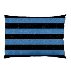 Stripes2 Black Marble & Blue Colored Pencil Pillow Case by trendistuff