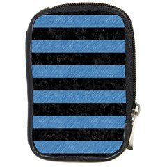 Stripes2 Black Marble & Blue Colored Pencil Compact Camera Leather Case by trendistuff