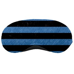 Stripes2 Black Marble & Blue Colored Pencil Sleeping Mask by trendistuff