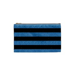 Stripes2 Black Marble & Blue Colored Pencil Cosmetic Bag (small) by trendistuff