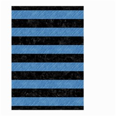 Stripes2 Black Marble & Blue Colored Pencil Small Garden Flag (two Sides) by trendistuff