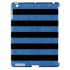 Stripes2 Black Marble & Blue Colored Pencil Apple Ipad 3/4 Hardshell Case (compatible With Smart Cover) by trendistuff
