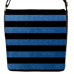 Stripes2 Black Marble & Blue Colored Pencil Flap Closure Messenger Bag (s)