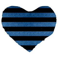 Stripes2 Black Marble & Blue Colored Pencil Large 19  Premium Flano Heart Shape Cushion by trendistuff