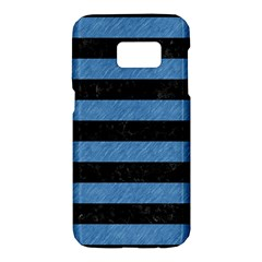 Stripes2 Black Marble & Blue Colored Pencil Samsung Galaxy S7 Hardshell Case  by trendistuff