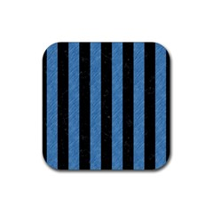 Stripes1 Black Marble & Blue Colored Pencil Rubber Square Coaster (4 Pack) by trendistuff