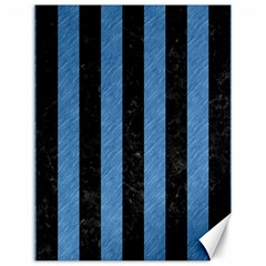 Stripes1 Black Marble & Blue Colored Pencil Canvas 12  X 16  by trendistuff