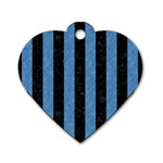 STRIPES1 BLACK MARBLE & BLUE COLORED PENCIL Dog Tag Heart (One Side) Front