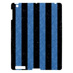 Stripes1 Black Marble & Blue Colored Pencil Apple Ipad 3/4 Hardshell Case by trendistuff