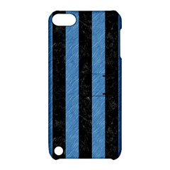 Stripes1 Black Marble & Blue Colored Pencil Apple Ipod Touch 5 Hardshell Case With Stand by trendistuff