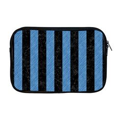 Stripes1 Black Marble & Blue Colored Pencil Apple Macbook Pro 17  Zipper Case by trendistuff