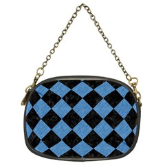 Square2 Black Marble & Blue Colored Pencil Chain Purse (two Sides) by trendistuff