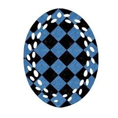 Square2 Black Marble & Blue Colored Pencil Oval Filigree Ornament (two Sides) by trendistuff