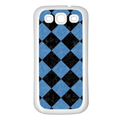 Square2 Black Marble & Blue Colored Pencil Samsung Galaxy S3 Back Case (white) by trendistuff