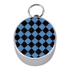 Square2 Black Marble & Blue Colored Pencil Silver Compass (mini)