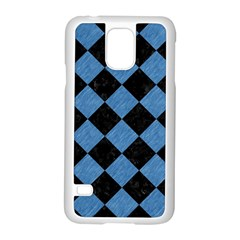 Square2 Black Marble & Blue Colored Pencil Samsung Galaxy S5 Case (white) by trendistuff