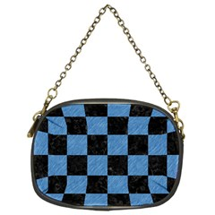 Square1 Black Marble & Blue Colored Pencil Chain Purse (one Side) by trendistuff