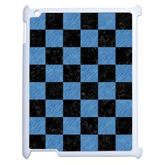 Square1 Black Marble & Blue Colored Pencil Apple Ipad 2 Case (white) by trendistuff