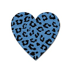Skin5 Black Marble & Blue Colored Pencil Magnet (heart) by trendistuff