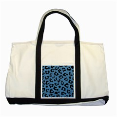 Skin5 Black Marble & Blue Colored Pencil Two Tone Tote Bag by trendistuff