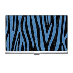 Skin4 Black Marble & Blue Colored Pencil (r) Business Card Holder by trendistuff