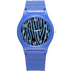 Skin4 Black Marble & Blue Colored Pencil (r) Round Plastic Sport Watch (s) by trendistuff