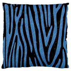 Skin4 Black Marble & Blue Colored Pencil (r) Large Flano Cushion Case (two Sides) by trendistuff