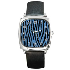 Skin4 Black Marble & Blue Colored Pencil Square Metal Watch by trendistuff