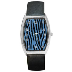 Skin4 Black Marble & Blue Colored Pencil Barrel Style Metal Watch by trendistuff