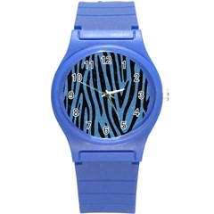 Skin4 Black Marble & Blue Colored Pencil Round Plastic Sport Watch (s) by trendistuff