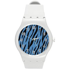 Skin3 Black Marble & Blue Colored Pencil (r) Round Plastic Sport Watch (m) by trendistuff