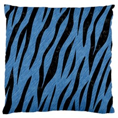 Skin3 Black Marble & Blue Colored Pencil (r) Large Flano Cushion Case (one Side) by trendistuff