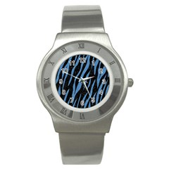 Skin3 Black Marble & Blue Colored Pencil Stainless Steel Watch by trendistuff