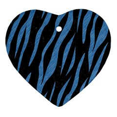 Skin3 Black Marble & Blue Colored Pencil Heart Ornament (two Sides) by trendistuff