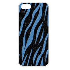 Skin3 Black Marble & Blue Colored Pencil Apple Iphone 5 Seamless Case (white) by trendistuff