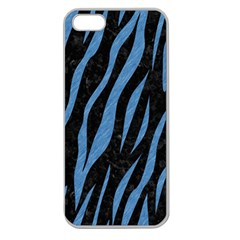 Skin3 Black Marble & Blue Colored Pencil Apple Seamless Iphone 5 Case (clear) by trendistuff