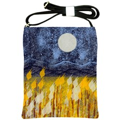 Blue And Gold Landscape With Moon Shoulder Sling Bags by digitaldivadesigns