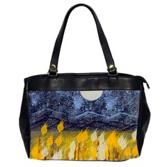 Blue And Gold Landscape With Moon Office Handbags (2 Sides)  by digitaldivadesigns