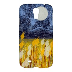 Blue And Gold Landscape With Moon Samsung Galaxy S4 I9500/i9505 Hardshell Case by digitaldivadesigns