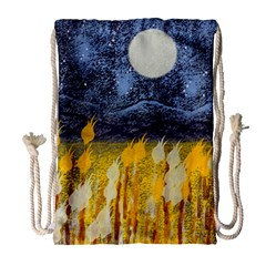 Blue And Gold Landscape With Moon Drawstring Bag (large) by digitaldivadesigns