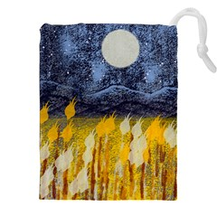 Blue And Gold Landscape With Moon Drawstring Pouches (xxl)